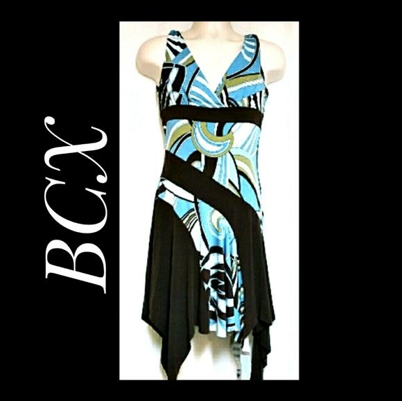 BCX Halter Style Dress Brown Blue Multi Jr's Med